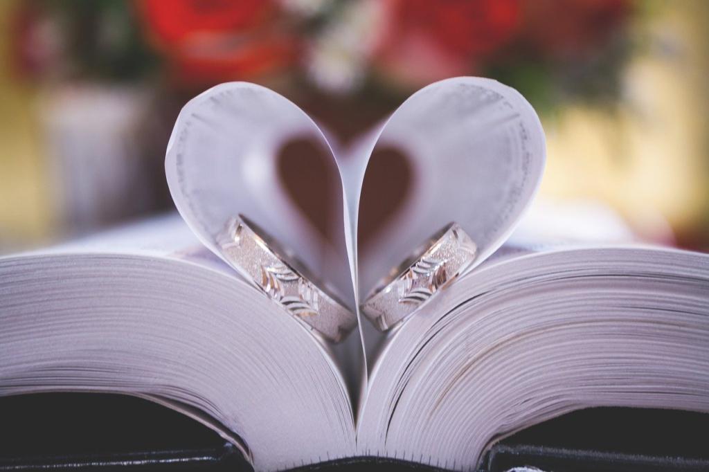 Eheringe in einer Bibel